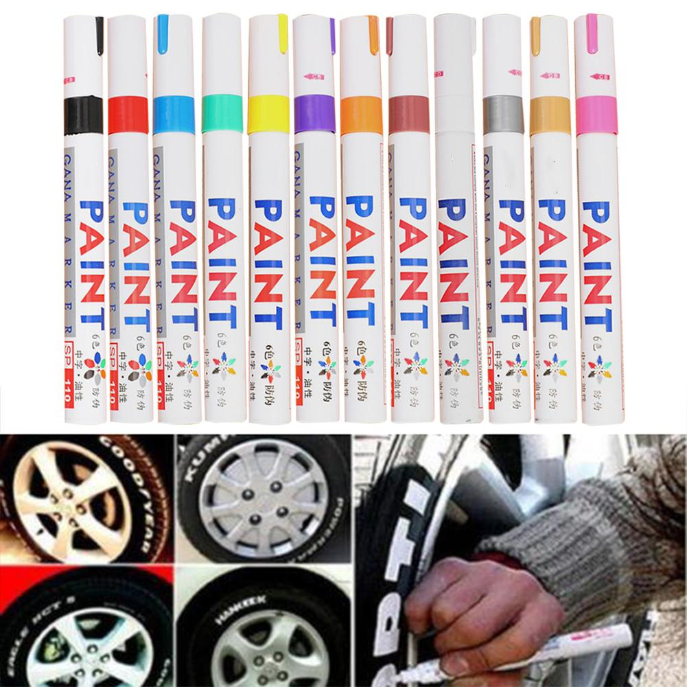 12 Colors Waterproof Car Paint Pen Scratch Repair Pen Remover Paint Marker Car Tyre Tire Tread Rubber Touch Up Pen Paint Care