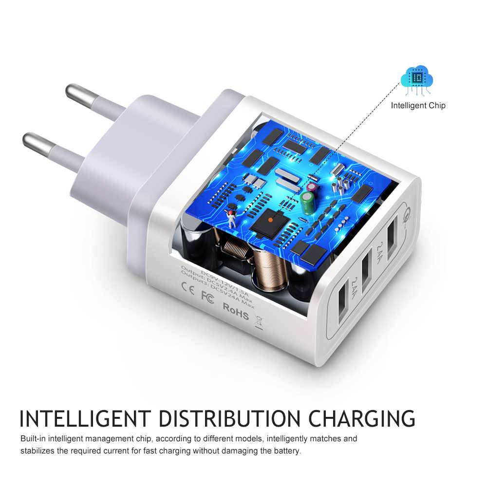Universele Quick Lading 30W Adapter USB Charger Voor iPhone 7 8 6 6S 5 5S X Samsung huawei Xiaomi EU US Plug Mobiele Telefoon Oplader