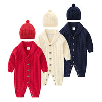 2019 Winter baby knitted romper in Baby Girls' Rompers knitting jumpsuit+caps for girl&boy christmas clothes for newborn twins