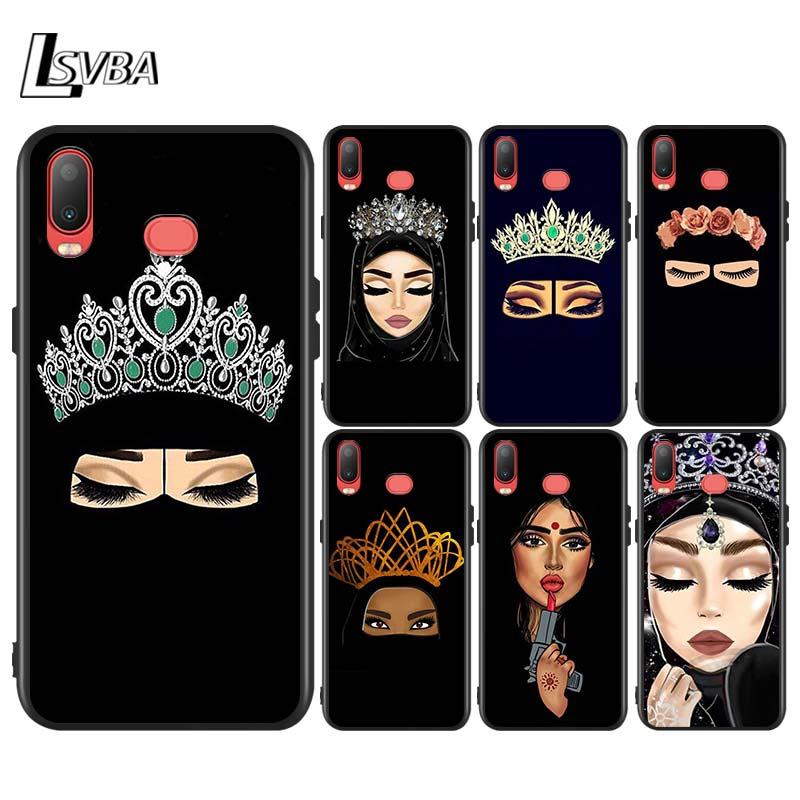 Arabic Hijab Girl Queen Crown For Samsung Galaxy A750 A9 A8 A7 A6 A5 A3 Plus 2018 2017 2016 Bright Black Phone Case Capa
