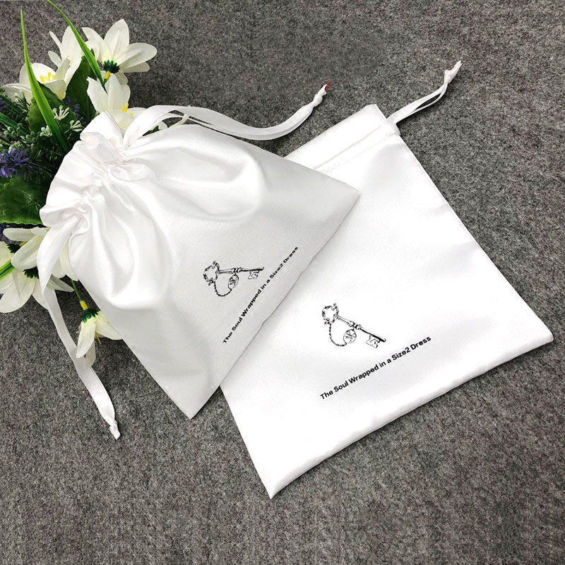 Satin Gift <font><b>Bag</b></font> Custom Logo Sachet for Jewelry Packaging Drawstring Pouch Makeup Party Bead <font><b>Candy</b></font> Luxury Reusable Silk <font><b>Bag</b></font> Print image