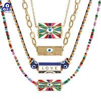 Collar con colgante de corazón de ojo de la suerte para mujer y niña, cadena larga de Color dorado, turco, arcoíris, joyería BE293