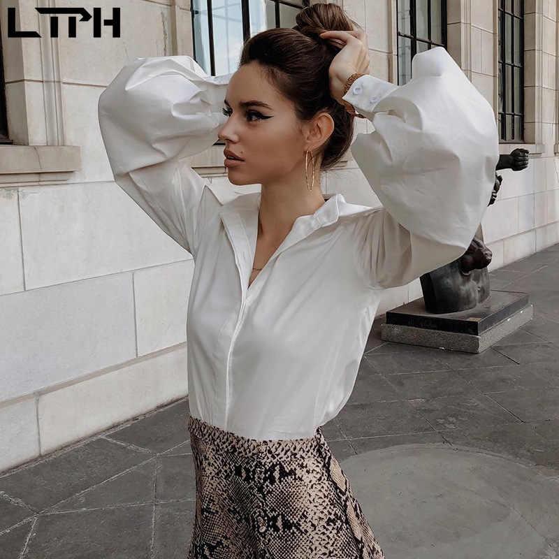 Chemisier tendance pour femmes, Streetwear, manches lanternes, à revers, bouton, uni, ample et Slim, simple, à la mode, offre spéciale, automne 2020