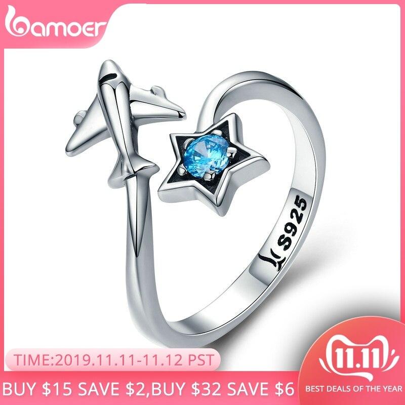 Bamoer 100% 925 prata esterlina na moda star tours estrela & avião feminino anéis de dedo para mulher prata esterlina jóias anel scr322