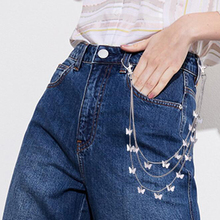 Punk Street Butterfly Belt Waist Chain Male Women Gold Silver Pants Chain Multi Layer HipHop Hook Trousers Keychain Jewelry punk street keychain trousers pants chain for women men multi layer metal wallet belt chains hipster keyring hiphop jewelry