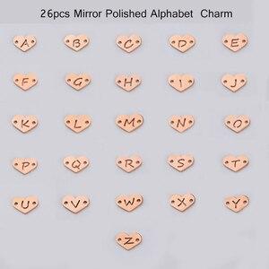 Image 5 - Fnixtar 26Pcs 1.2*12mm Spiegel Polnischen Edelstahl Herz Brief Charms Initialen Alphabet Anschluss Charme Für Braid armbänder