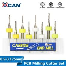 XCAN 10Pcs 0.5 3.175nnคาร์ไบด์PCB Milingตัด 3.175Mm Shankเครื่องแกะสลักCNC End Mill