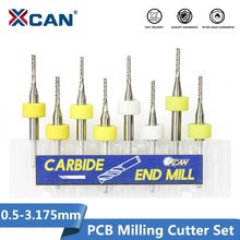 XCAN 10pcs 0.5 3.175nn Carbide PCB Miling Cutting 3.175mm Shank CNC Engraving Machine End Mill