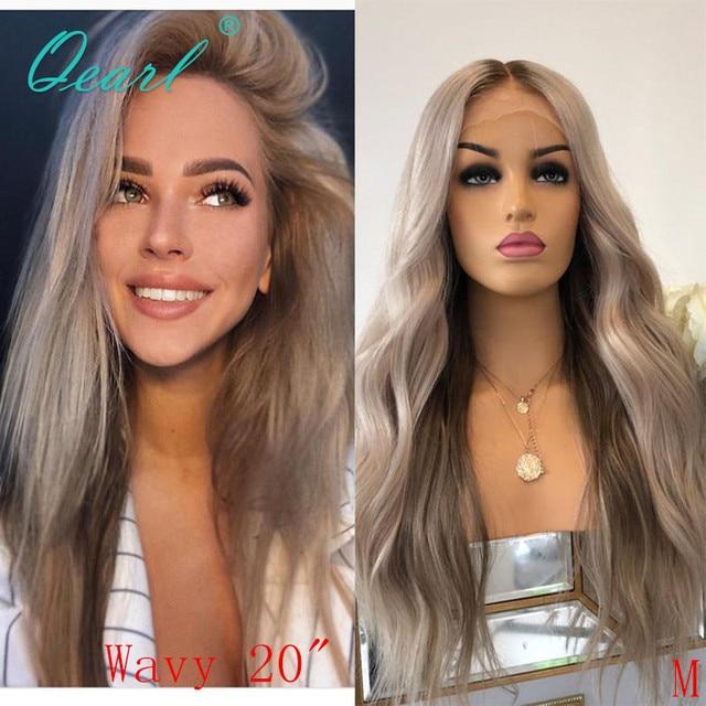 Srebrny szary kolor ludzki włos koronki przodu peruki Ombre faliste peruwiańskie włosy Remy bielone węzłów 13x4 środkowa część 130% 150% Qearl