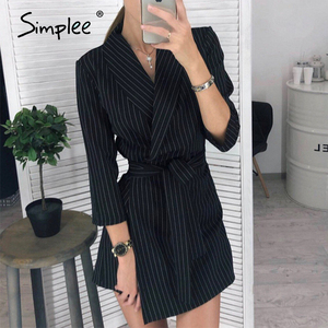 Image 3 - Simplee Elegant v neck office dress Plus size solid sash high waist long sleeve blazer dress Casual spring chic bodycon dress