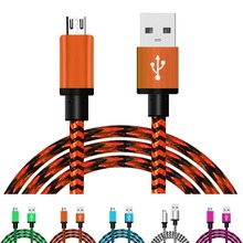 1m Micro USB Cable Short Fast Charging Nylon USB Sync Data Cord Mobile Phone Android Adapter Charger Cable for Samsung huawei