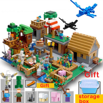 My World Building Blocks Compatible Village 30065 Haunted house Tree Mine Mountain Cave Model Bricks Figures Toys For Children the tree house small building blocks sets with steve action figures compatible my world bricks set gifts toys