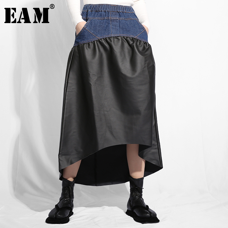 Special Benefits  [EAM] 2020 New Spring High Elastic Waist Pu Leather Irregular Pleated Denim Half-body Skirt Women Fashion JO27