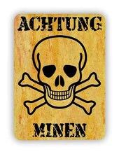 Achtung Minen Tin Zeichen kunst wand dekoration, vintage aluminium retro metall zeichen,