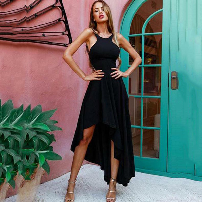 Eightree New Black High Low Prom Dresses Spaghetti Straps Satin Formal Evening Party Dress Backless Sexy Evening Dresses 2020