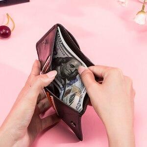 Image 3 - קשר של עור אמיתי ארנקים נשים קליפים כסף RFID כרטיס ארנק Femal ארנק קליפ כסף קטן מטבע ארנקי וו Portomonee