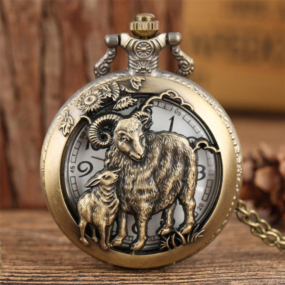 Chinese Zodiac Sheep Design Antique Quartz Pocket Watch Half Hunter Pendant Necklace Clock Fob Chain