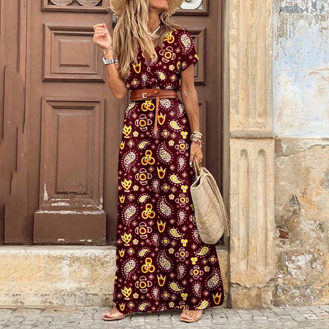 Summer Dress Women Casual Boho Bohemian Long 2021 Chiffon Oversize Short Sleeve Maxi Beach Dress Casual Elegant Sundress 4