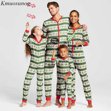 2Pcs Family Christmas Pajamas Kids&Adult Long Sleeve T-shirt+Striped Pants Matching Clothes Pjs Sleepwear C0574