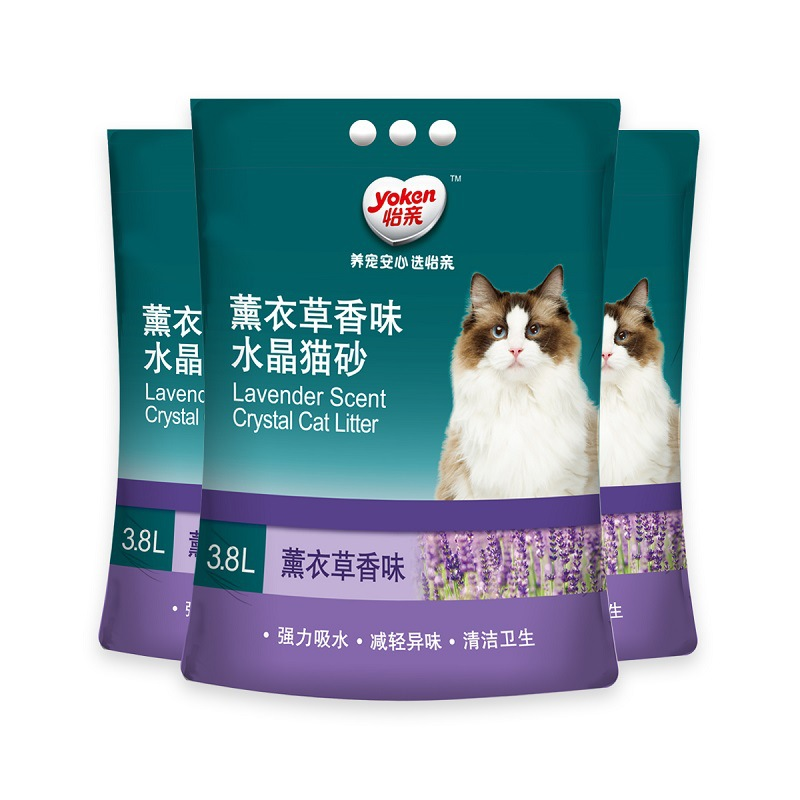 Deodorant Water-Absorbing Cat Litter 3.8L X 3 Bag Lavender Crystal Large Particles Low Dust Litter Box