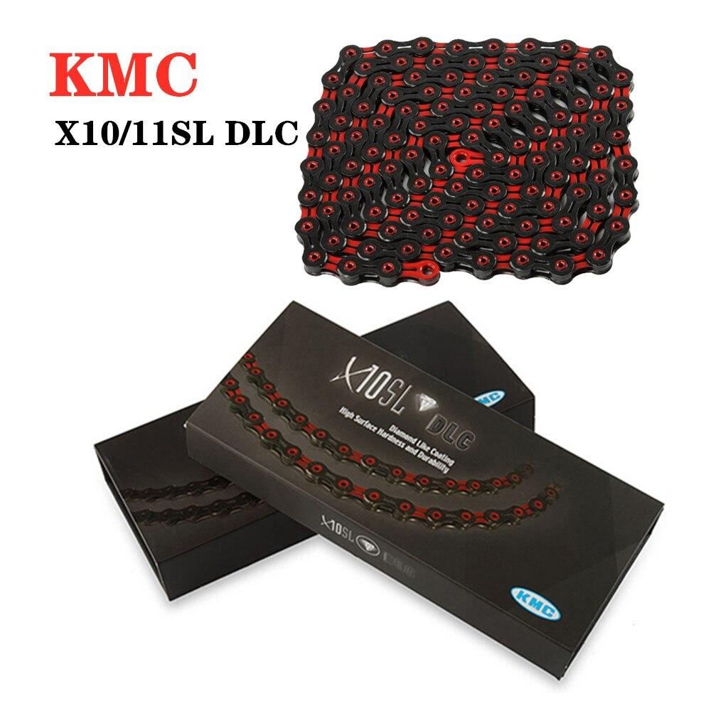 KMC x11sl x10sl DLC 11 10 vitesses chaîne rouge diamant noir diamant chaîne carbone ultra-léger pour vtt vélo de route accessoires de vélo