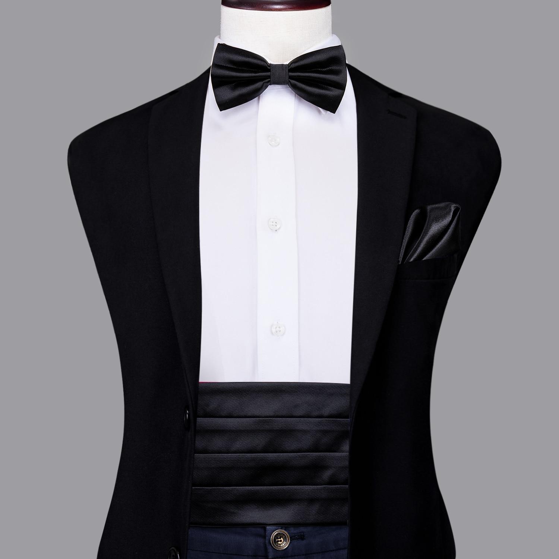 Hi-Tie Classic Silk Black Cummerbunds For Men Suit Formal Vintage Cummerbunds Set Elastic Waistband Wide For Men