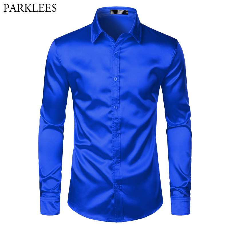 Royal Blue Silk Satin Shirt Men 2019 Luxury Brand New Slim Fit Mens Dress Shirts Wedding Party Casual Male Casual Shirt Chemise