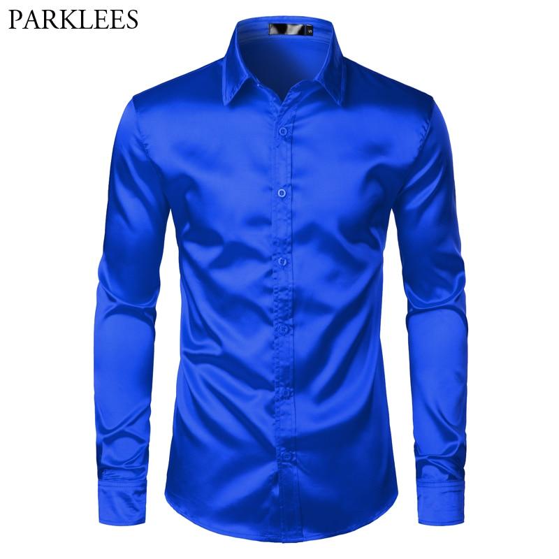 Royal Blue Silk Satin Shirt Men 2019 Luxury Brand New Slim Fit Mens Dress Shirts Wedding Party Casual Male Casual Shirt Chemise