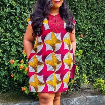 Color Block African Dress Women Summer Vintage Geometric Short Sleeve A-Line High Waist Dress Women Basic Dresses Casual vintage cherry halterneck a line dress for women