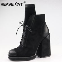 REAVE CAT Women Ankle Boots suede Chunky high heels Cross-tied Lace Up platform boots Women's party shoes booties black green(China)