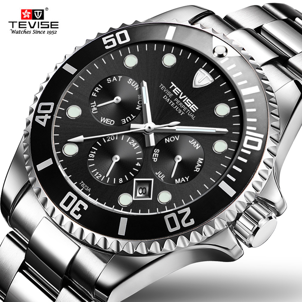 Tevise Top  Brand Waterproof Men Quartz Watches Waterproof Steel Band Calendar Sports Luminous Wristwatches Relogio Masculino