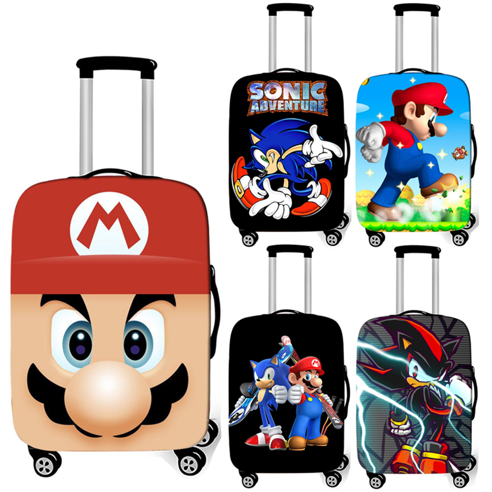 Cartoon Mario / Sonic Luggage Cover For Travelling Anti-dust Suitcase Protective Covers Elastic Trolley Case Covers