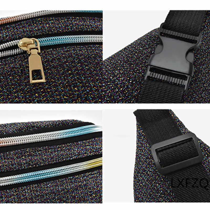 LXFZQ Rosa Sacos de Peito de Paetês Fanny Pack Saco Da Cintura Das Mulheres Novas Da Marca de Moda Senhoras Casuais Telefone Pacote de Cintura Bolsa Bolsa de Dinheiro cinto