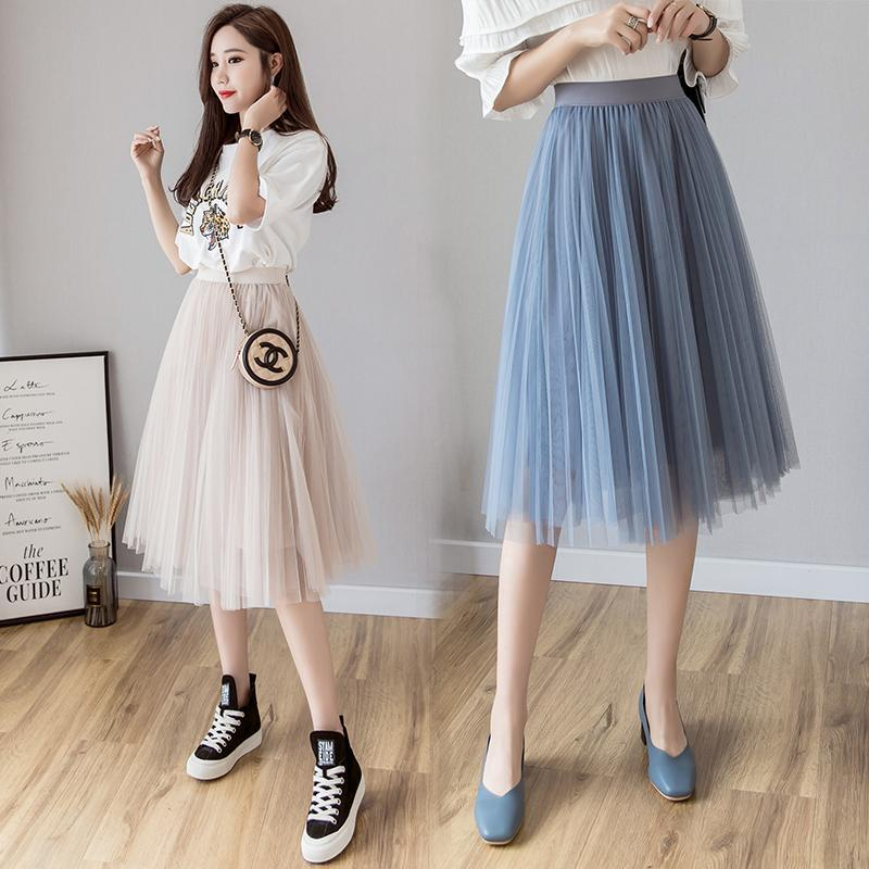 Tulle Skirt Women 2019 Summer A-line Midi Skirts Elastic High Waist Long Mesh Tutu Pleated Skirts For School Girl Korean