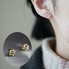 Boucles d'oreilles en argent Sterling 925 plaqué en or 14k pour femmes, accessoires simples, incrustés de cristal, bijoux exquis pour étudiantes, accessoires