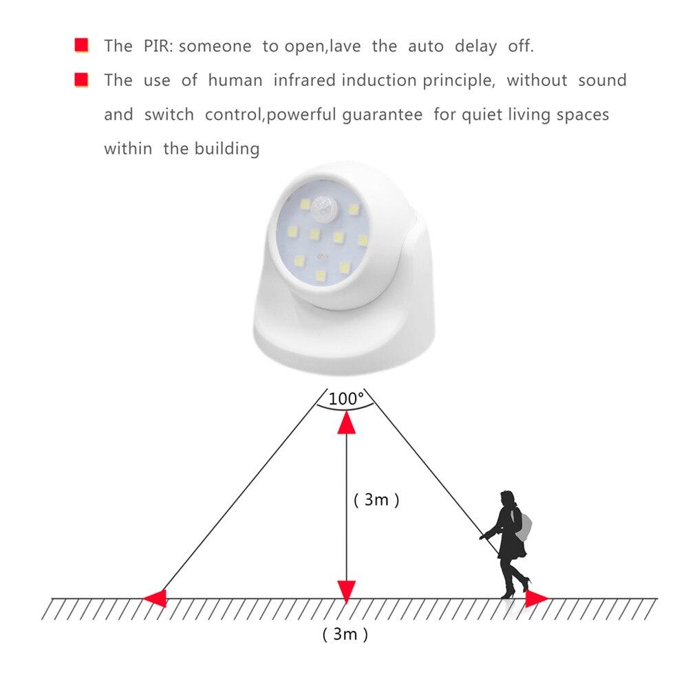 9 лампочек, светодиодные Настенные светильники, датчик движения, ночник, 360 градусов, вращение, беспроводной, авто, PIR, ИК, инфракрасный детект...