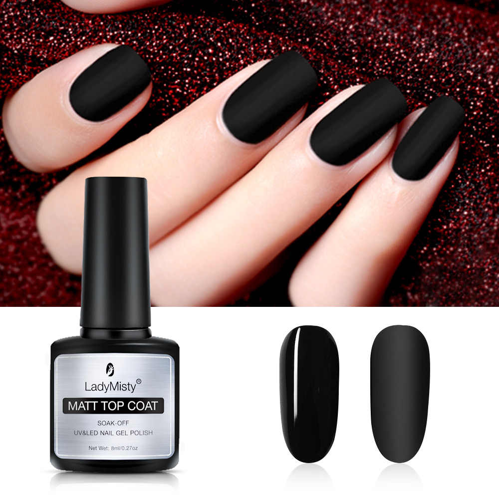 Ladymisty 8 Ml Snel Droog Matte Top Coat Gel Uv Led Gel Top Primer Nagellak Nail Art Losweken gel Lak Langdurige Gel