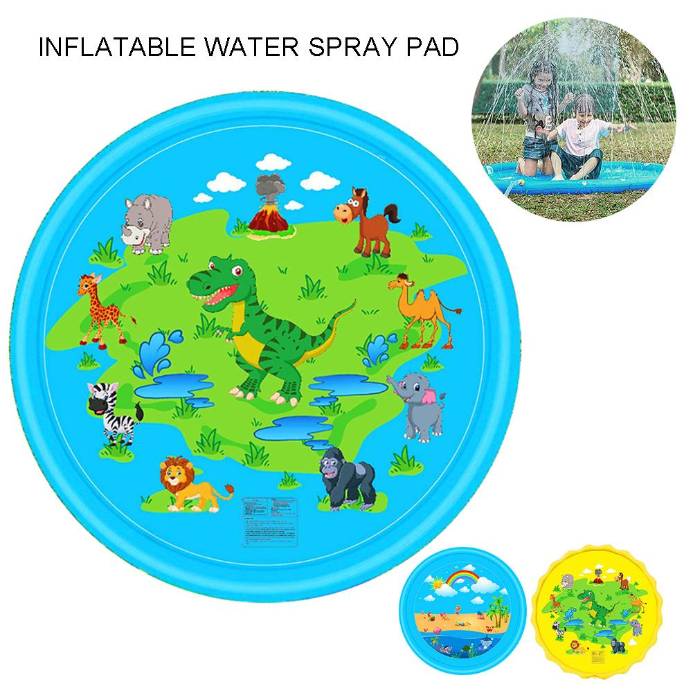 Kids Outdoor Home Garden Inflatable Dinosaur Rainbow Sprinkle Splash Mat Water Play Pad Family Interactive Toy