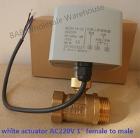 AC220V DC24V/12V DN25(G1 Female to male) 2 way 3 wires brass motorized ball valve/electric actuator motor operated brass valve