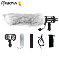 BOYA BY PVM1000L Professional Condenser Microphone Super Cardioid Directional Mic with Shock Mount Wind Muff for Camcorder
