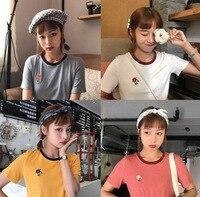 2019 Summer New Style Korean style Embroidery Flowers Versatile T shirt Women's Fresh Harajuku Wind Slim Fit Tops