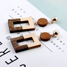 2019 Simple new fashion square round wooden tassel earrings simple long paragraph pendant earrings female jewelry gifts