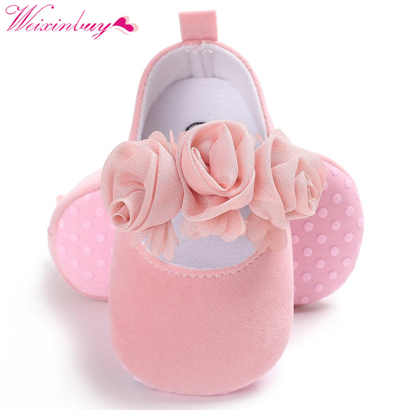 Newborn Toddler Kids Baby Girl Rose Shoes Anti-slip Soft Sole Prewalker Sneakers