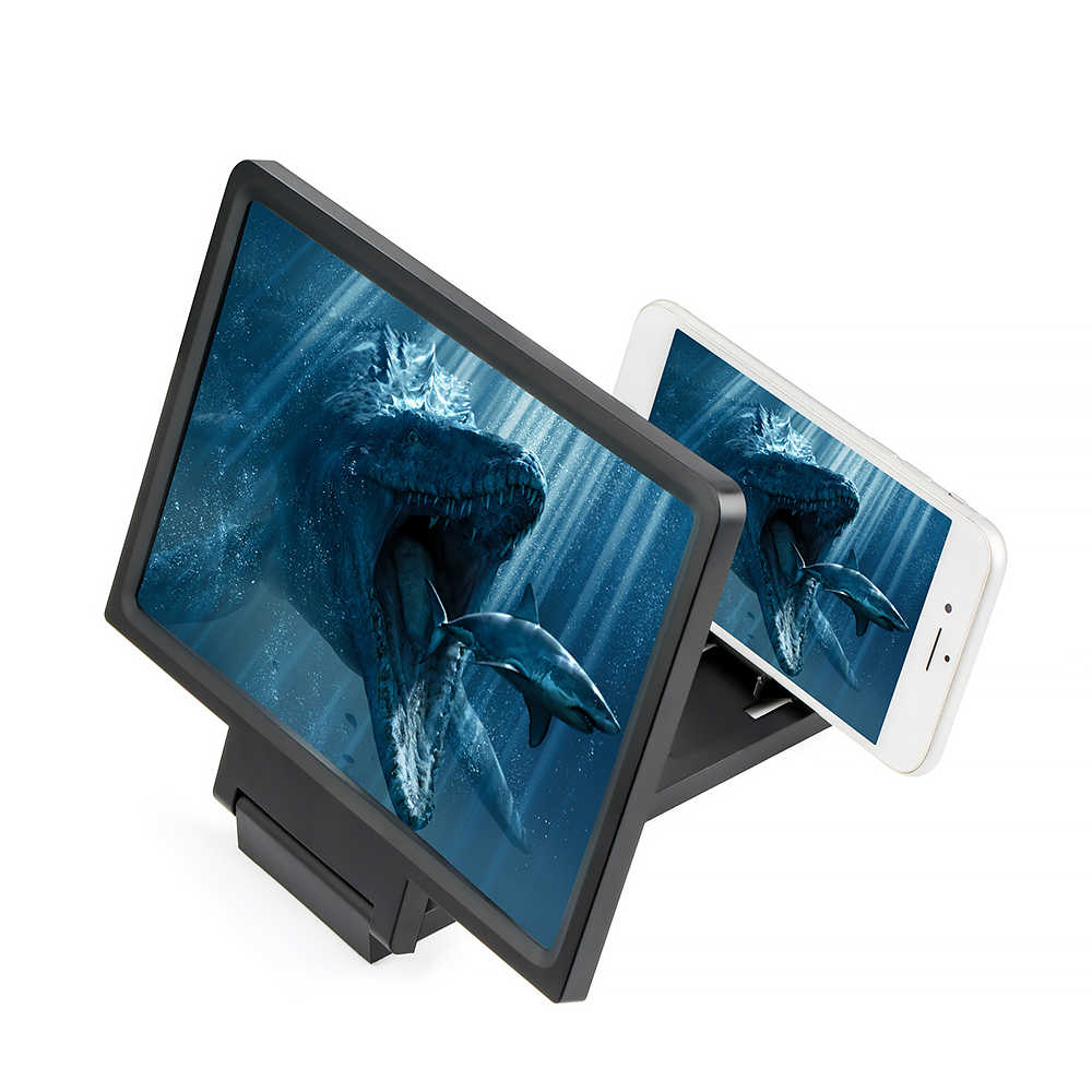 Phone Screen Magnifier Pu Leather with Stainless Steel Mobile Phone Bracket 12 3D