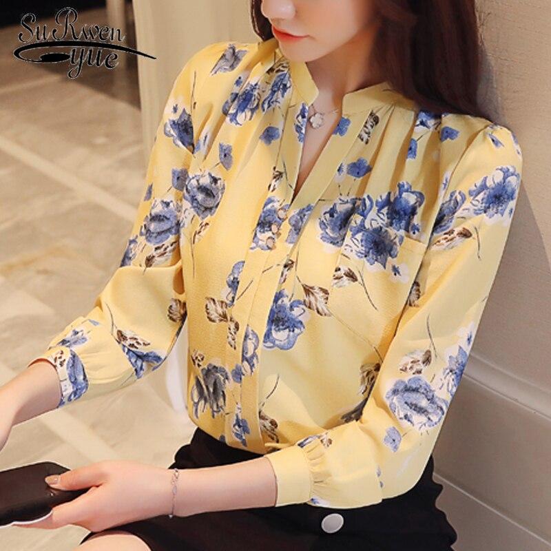Fashion Woman Blouses 2021 Long Sleeve Print Chiffon Women Blouse Shirt Ladies Tops Feminine Blouses Women Shirt Blusas Z0001 40 2