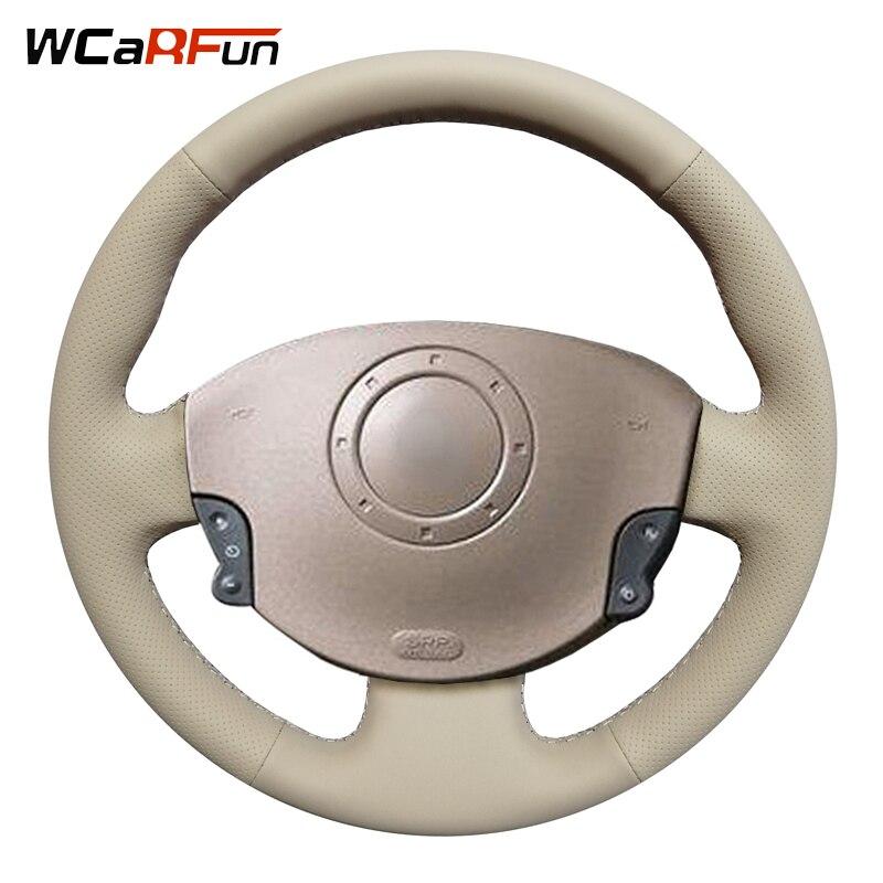 WCaRFun Beige Artificial Leather Car Steering Wheel Cover for Renault Megane 2 2003-2008 Kangoo 2008 Scenic 2 2003-2009