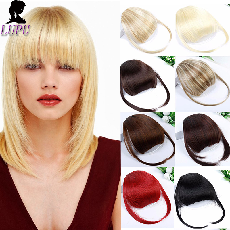 LUPU WIG Womens Front Blunts Bangs Fake Synthetic Hair Extensions Clip On Fringe Hair Heat Resistant Fashion Hairpieces