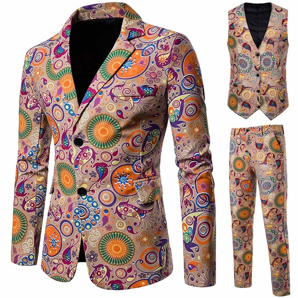 Suits Men 2019 Mens Suits 3 Piece  Mens Suits With Pants Men's Casual Suit + Suit Pants + Vest Mens Suits With Flower Dess
