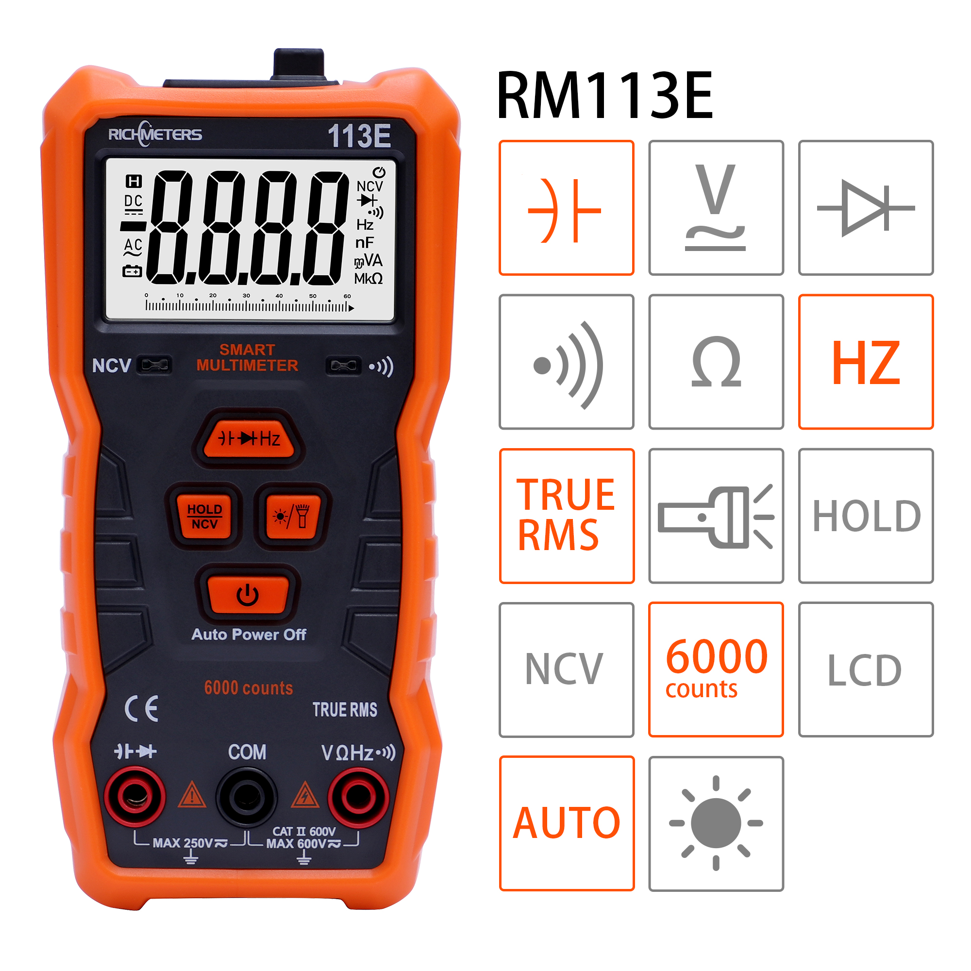 Digital Multimeter Automatic 6000 Counts Analogy Bar Magnet AC/DC Voltage Meter Continuity Flash Light Back Light