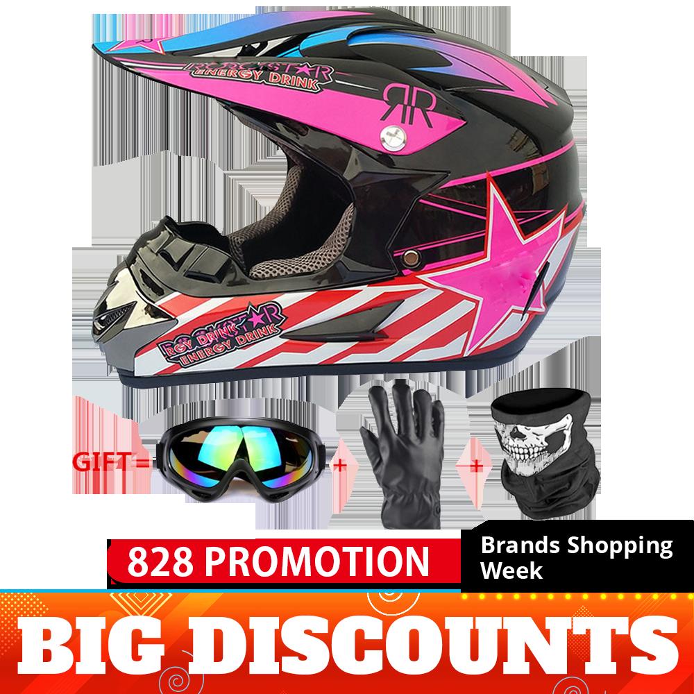 Green Full Face Motorcross  Off-road Dirt Bike ATV Helmet Visor Lens Adult Gear
